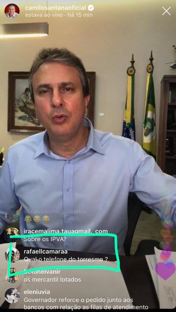 Airton Fonteles: anúncio de restaurante durante live do governador do Ceará, Camilo Santana