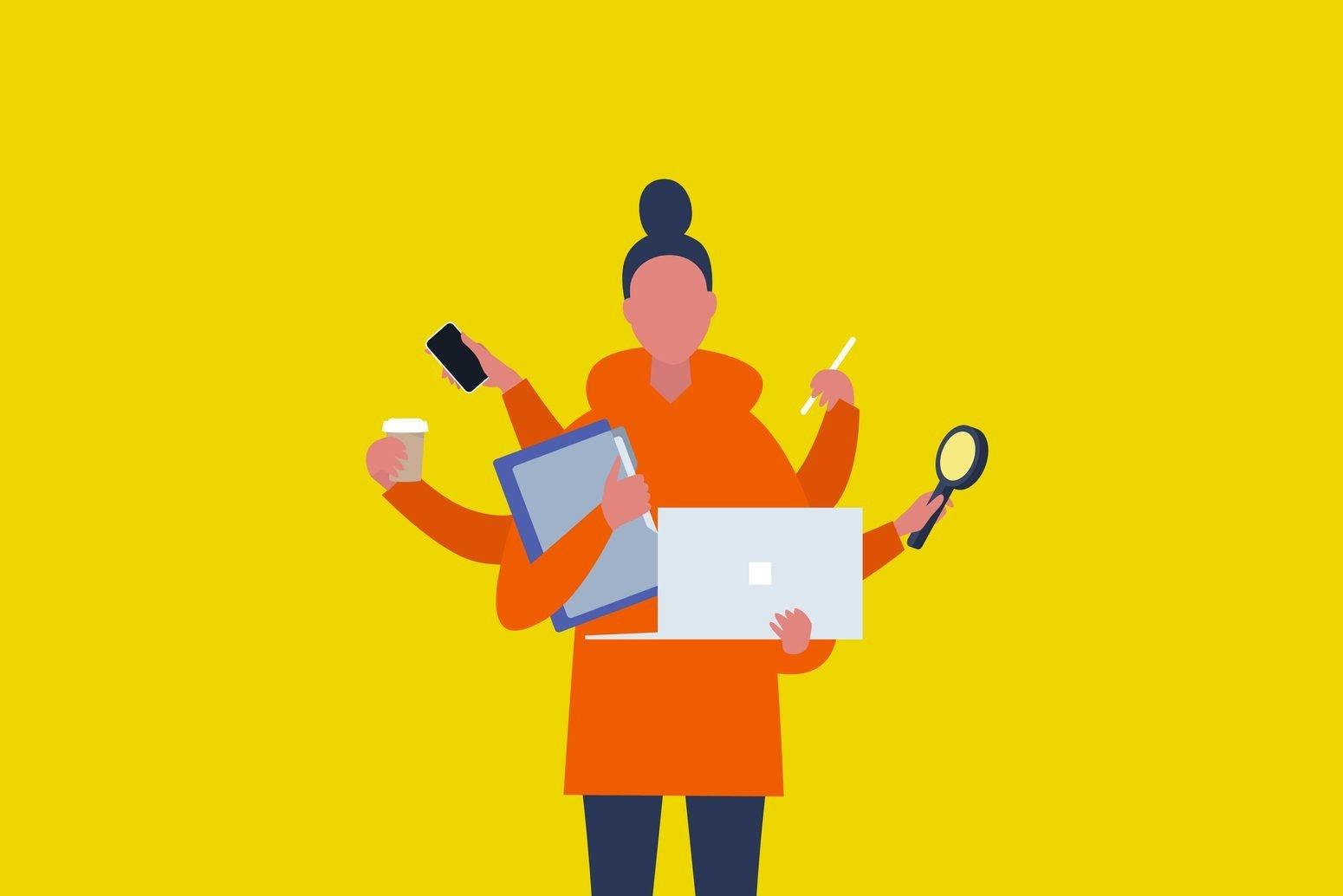 Ilustração de figura feminina com seis braços, segurando itens como computador, café, celular, livros