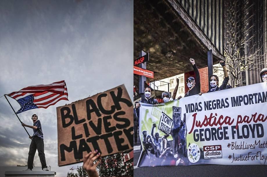 Protestos nos EUA contra racismo e no Brasil, a favor da democracia Fotos: John Locher/ap e  fotos publicas