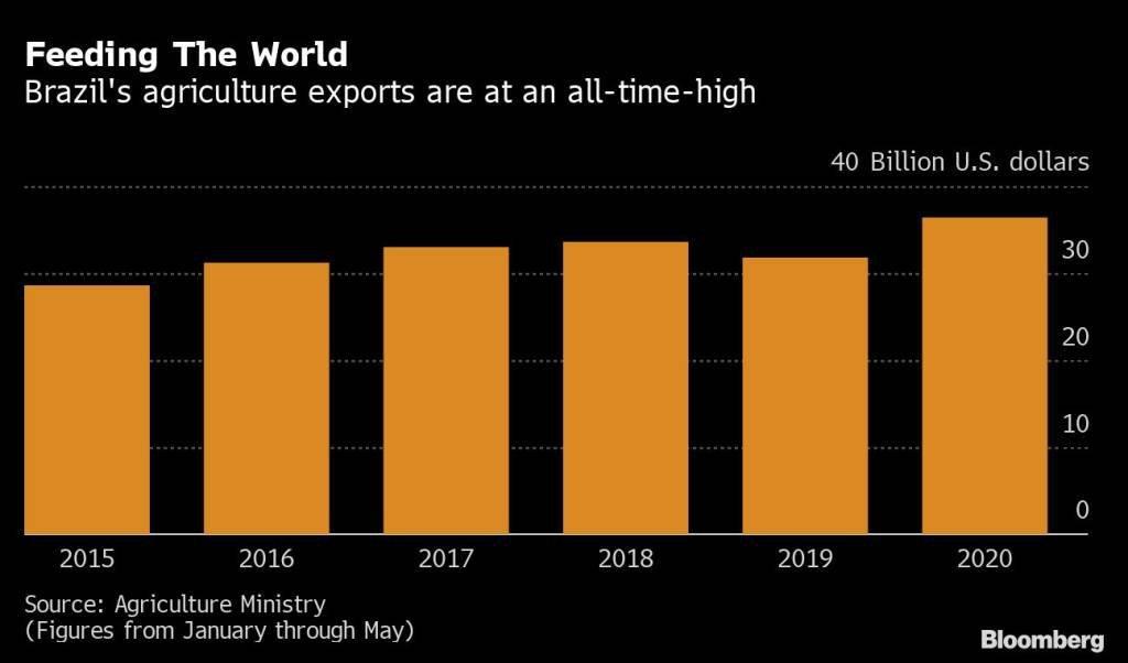 Exportações agrícolas do Brasil por ano em bilhões de dólares