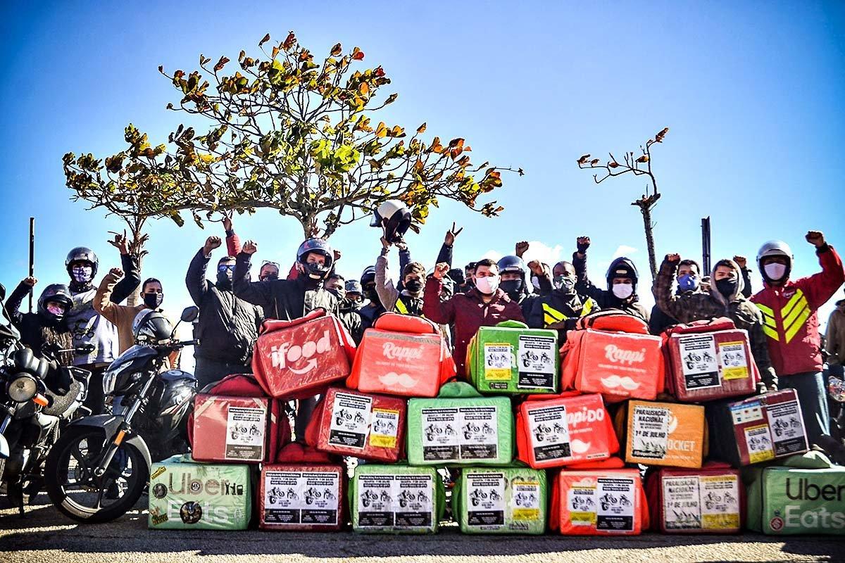 Entregadores em greve em Florianópolis