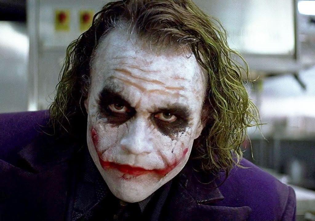 Heath Ledger como Coringa em filme de 2008