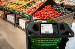 Carrinho de supermercado inteligente da Amazon, chamado Amazon Dash Cart