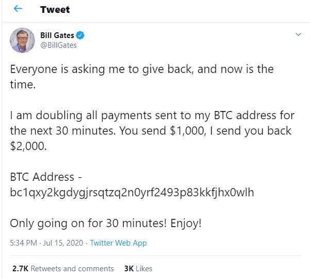 Reprodução do tweet publicado supostamente por Bill Gates