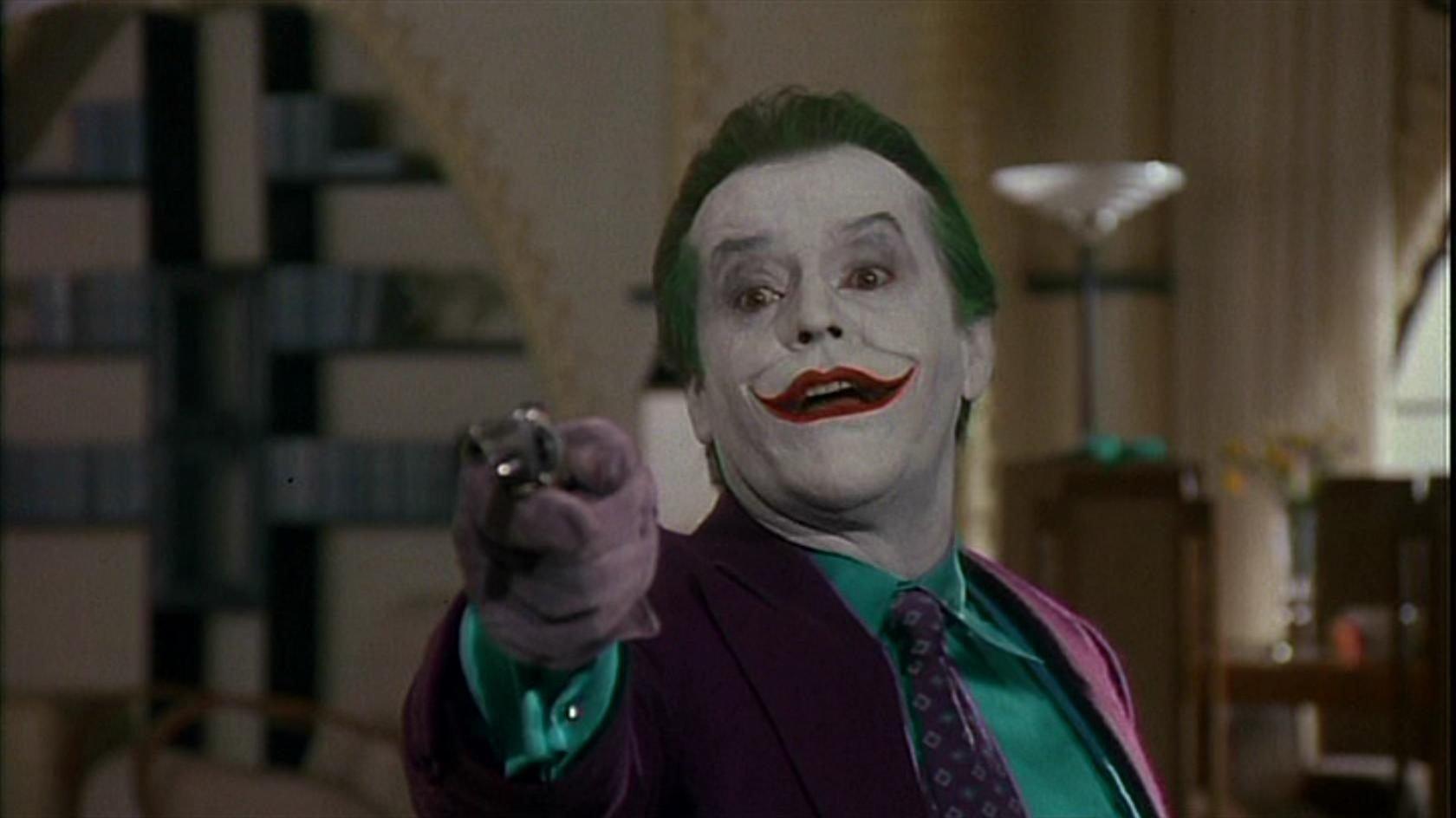 Jack Nicholson como Coringa em filme 1989