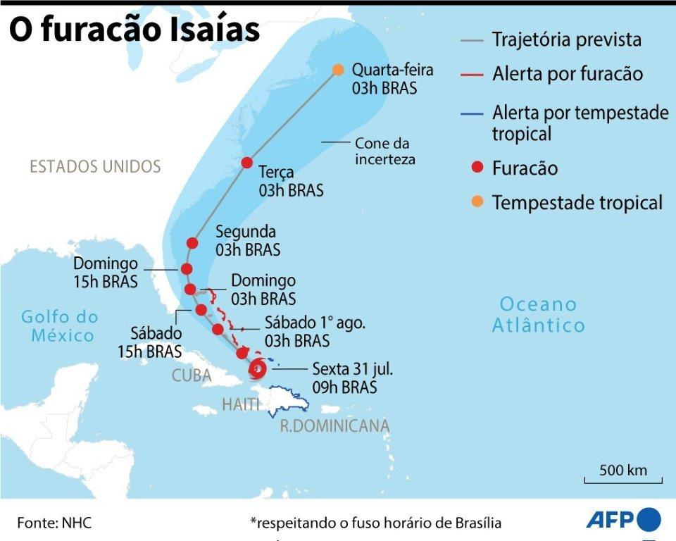 Localização e a trajetória prevista para o furacão Isaías.