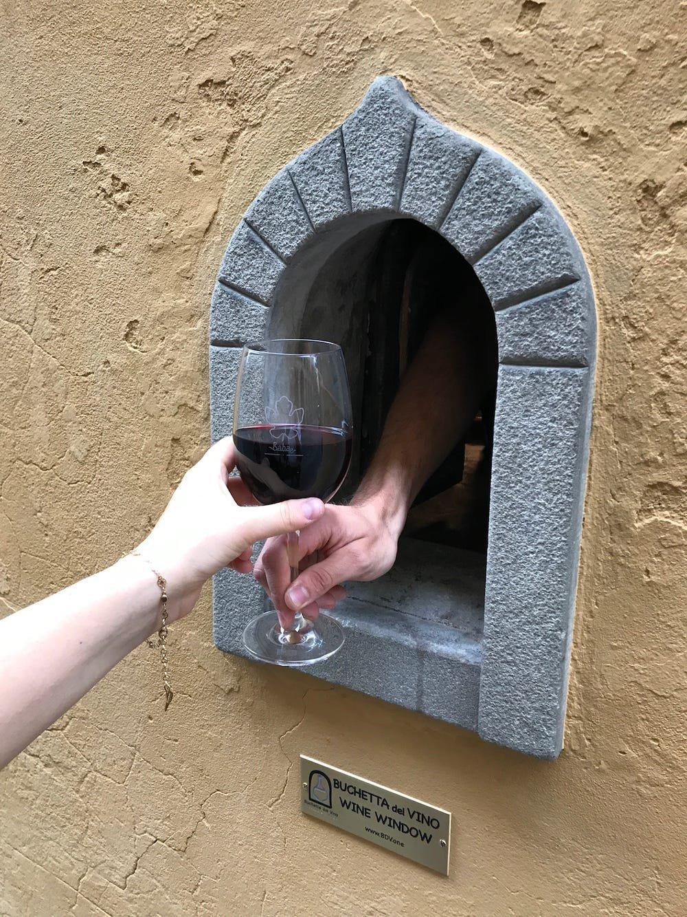 Janela de vinho, em Florença