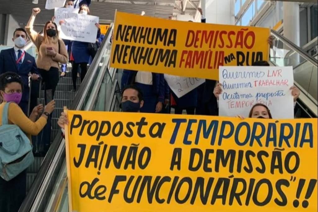 Protesto em Guarulhos dos funcionários da Latam