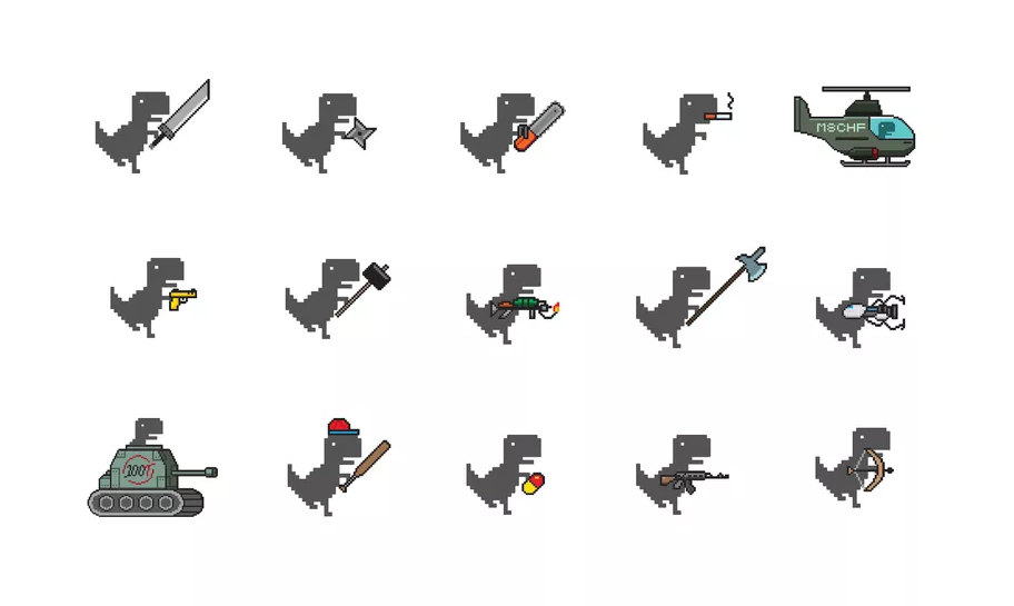 O usuário pode escolher várias armas para o Dino