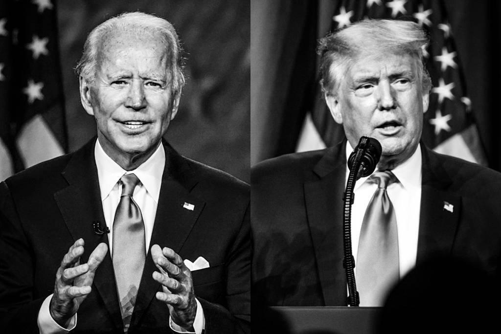 Joe Biden e Donald Trump: Biden à frente nas pesquisas