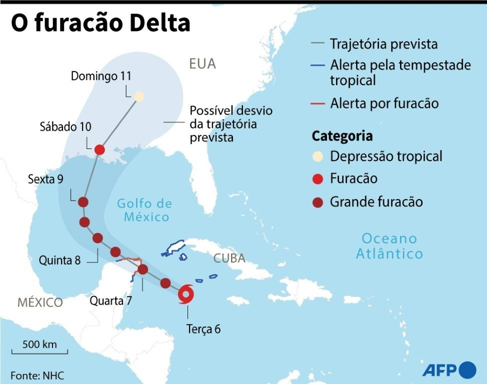 Localização e a trajetória prevista do furacão Delta.
