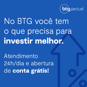 Banner do BTG Pactual de fundo azul com letras brancas sobre investir melhor