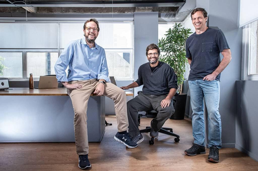 Sócios-fundadores da Nomad: Eduardo Haber (à esq.), Marcos Nader (centro) e Patrick Sigrist: olho em brasileiros que querem ter conta nos Estados Unidos a partir do Brasil
