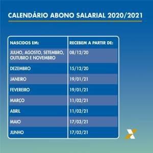 Calendário abono salarial