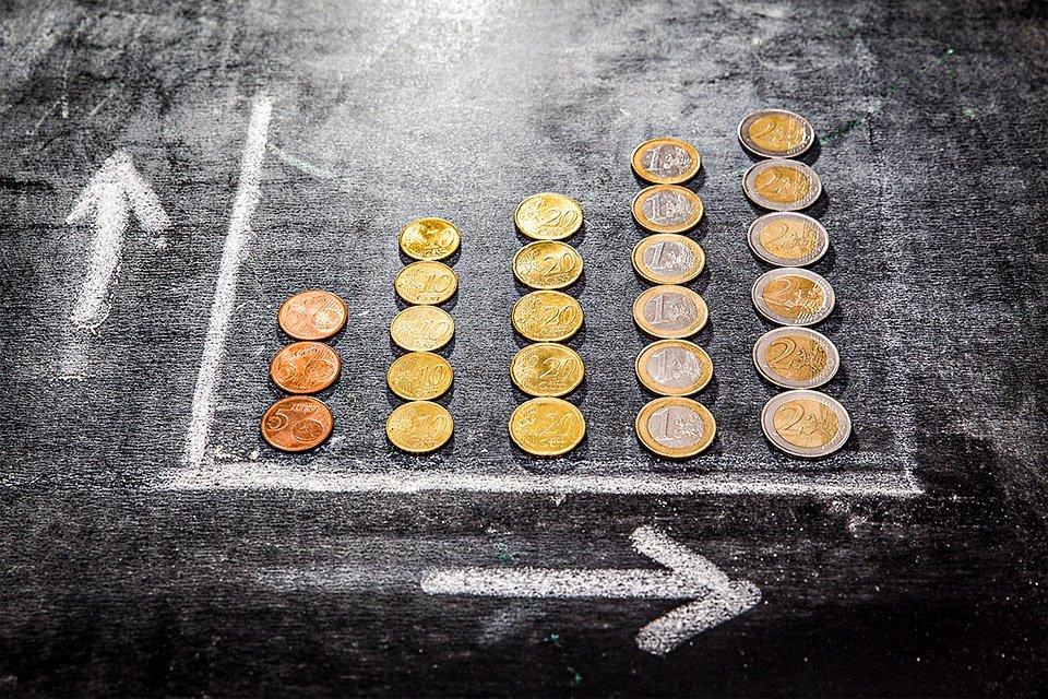 Gráfico que simula retorno positivo obtido em investimentos