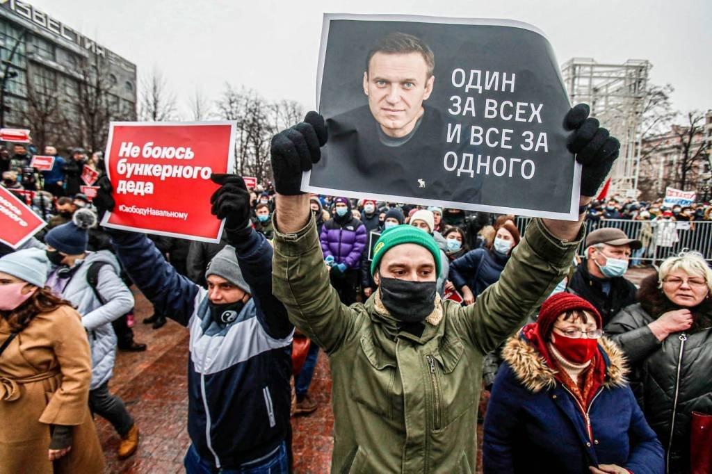 Protesto na Rússia Alexei Navalny