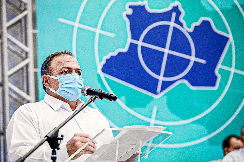 Ministro Pazuello na apresentação do Plano Estratégico de Enfrentamento á covid-19 no Amazonas