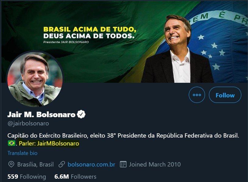 Bolsonaro anunciando Parler no Twitter