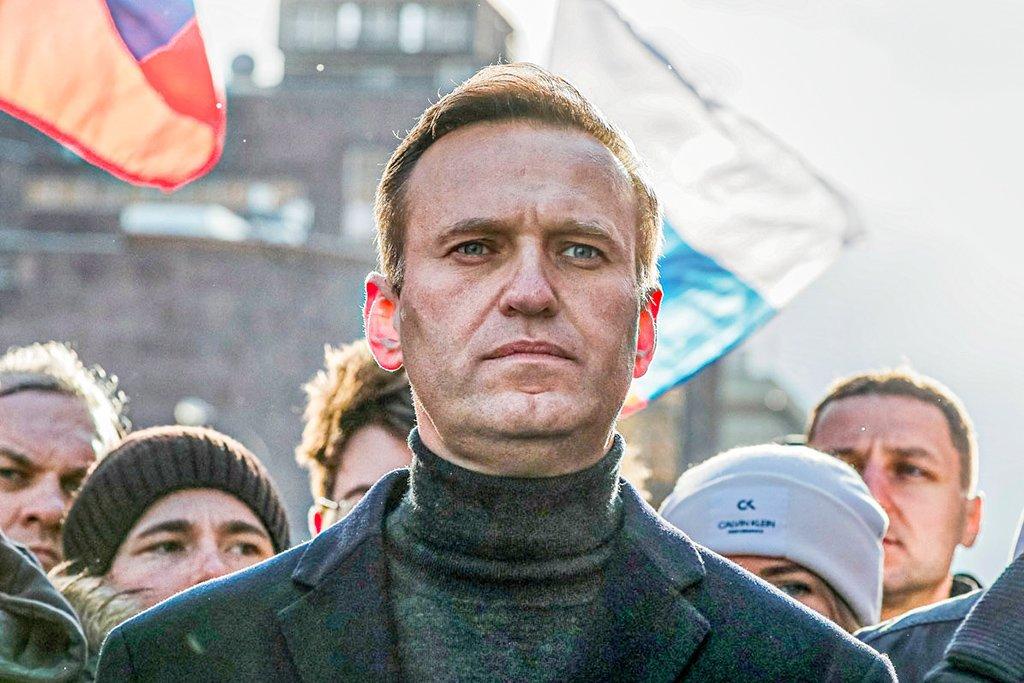 O político da oposição russa Alexei Navalny participa de uma manifestação para marcar o 5º aniversário do assassinato do político da oposição Boris Nemtsov e para protestar contra as emendas propostas à constituição do país, em Moscou, Rússia, 29 de fevereiro de 2020. REUTERS / Shamil Zhumatov