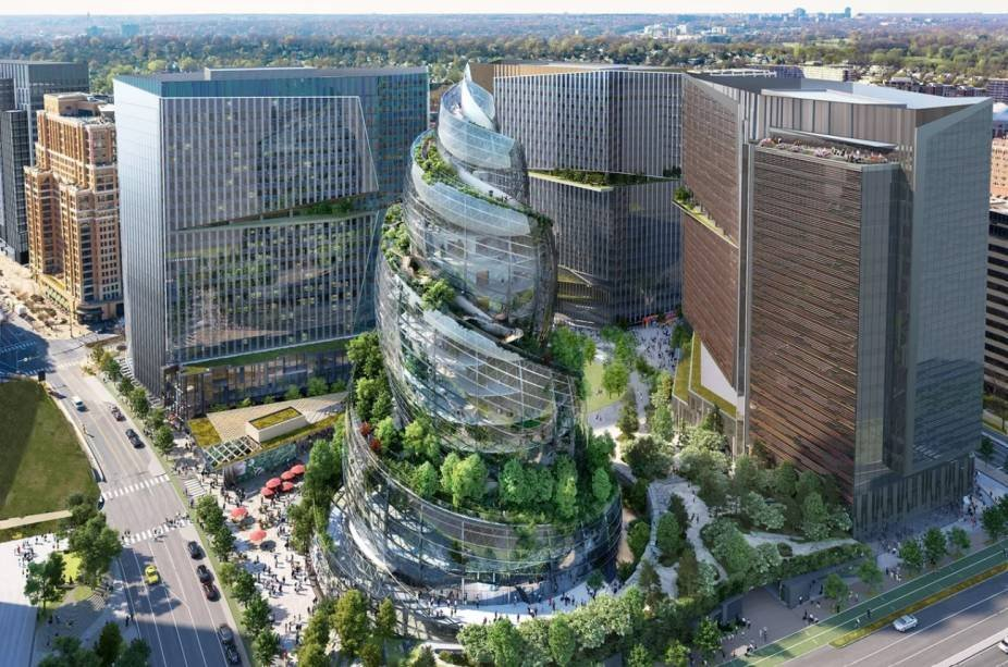 Rendering of the Helix, Amazon's spiral building