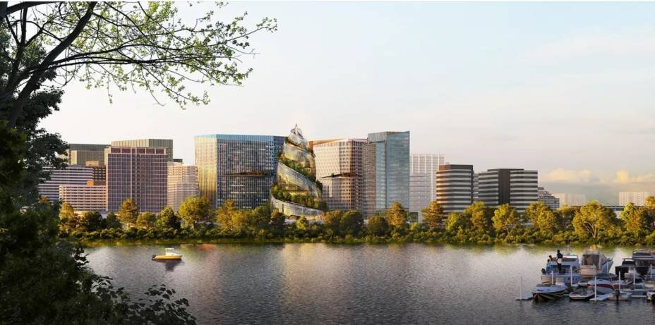 Rendering of the Helix, Amazon's spiral building, and its other 3 buildings