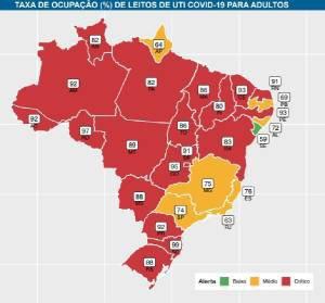 Mapa da ocupação de leitos de UTI no Brasil