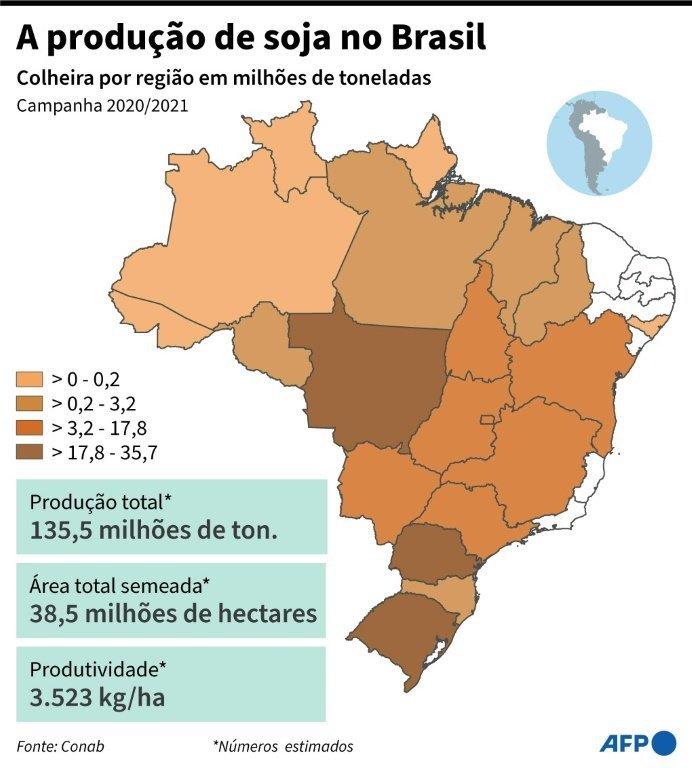 Mapa do Brasil com a colheita de soja por regiao na campanha 2021-2021.