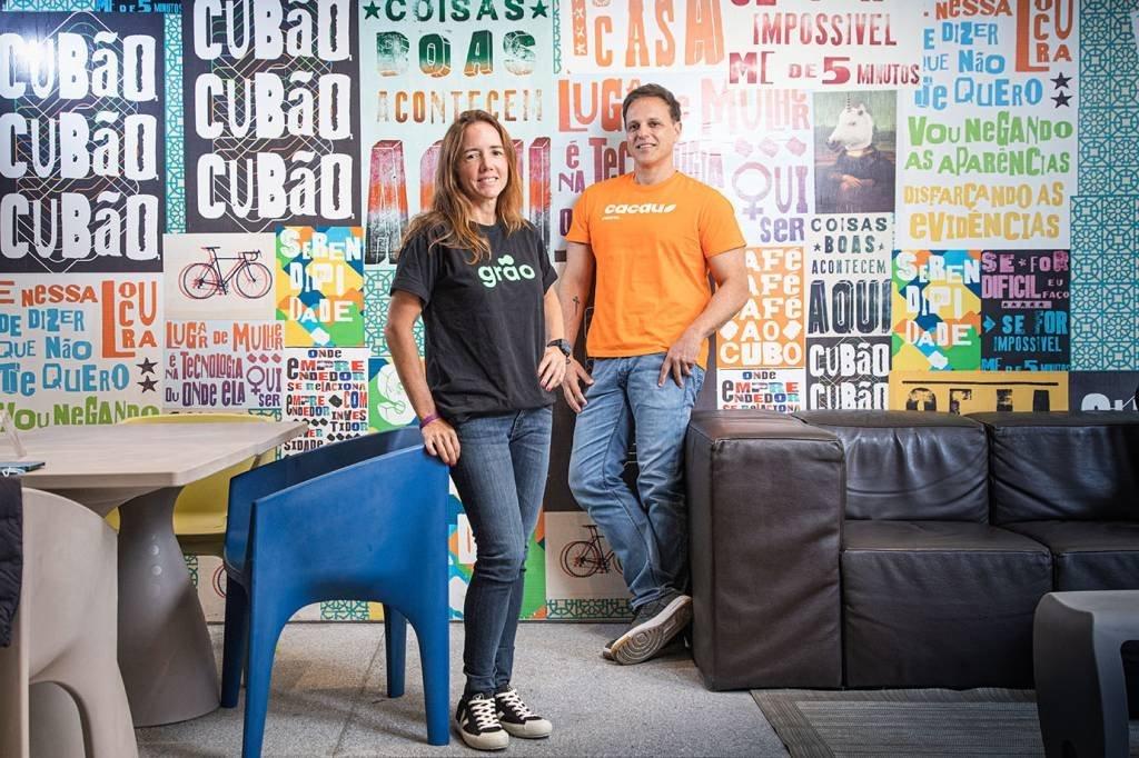 Monica Saccarelli, fundadora e CEO da fintech Grão, e Frederico Meinberg CEO da Cacau Crédito   Crédito: Leandro Fonseca
