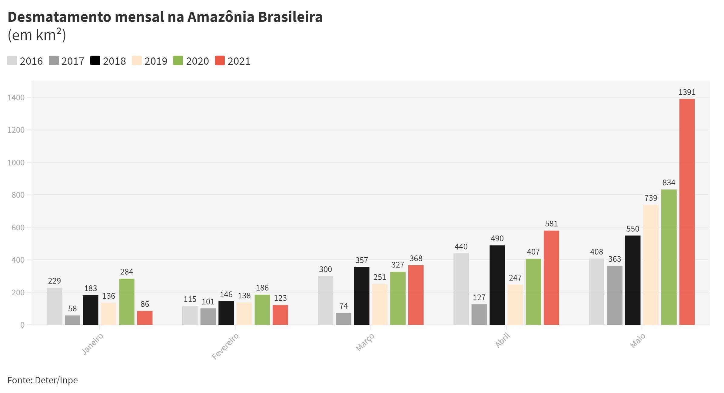 Desmatamento mensal amazonia