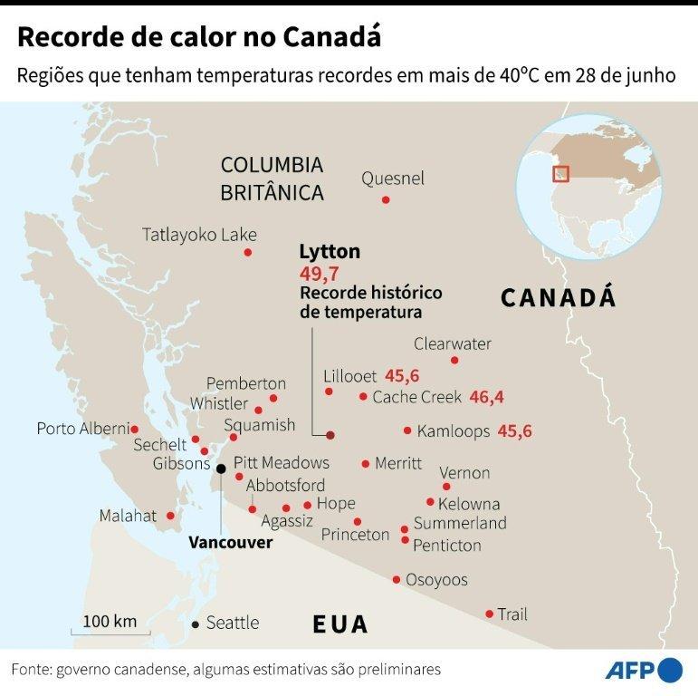Regiões do Canadá com recorde de calor