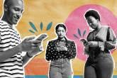 Três pessoas usando telefone celular com fundo colorido