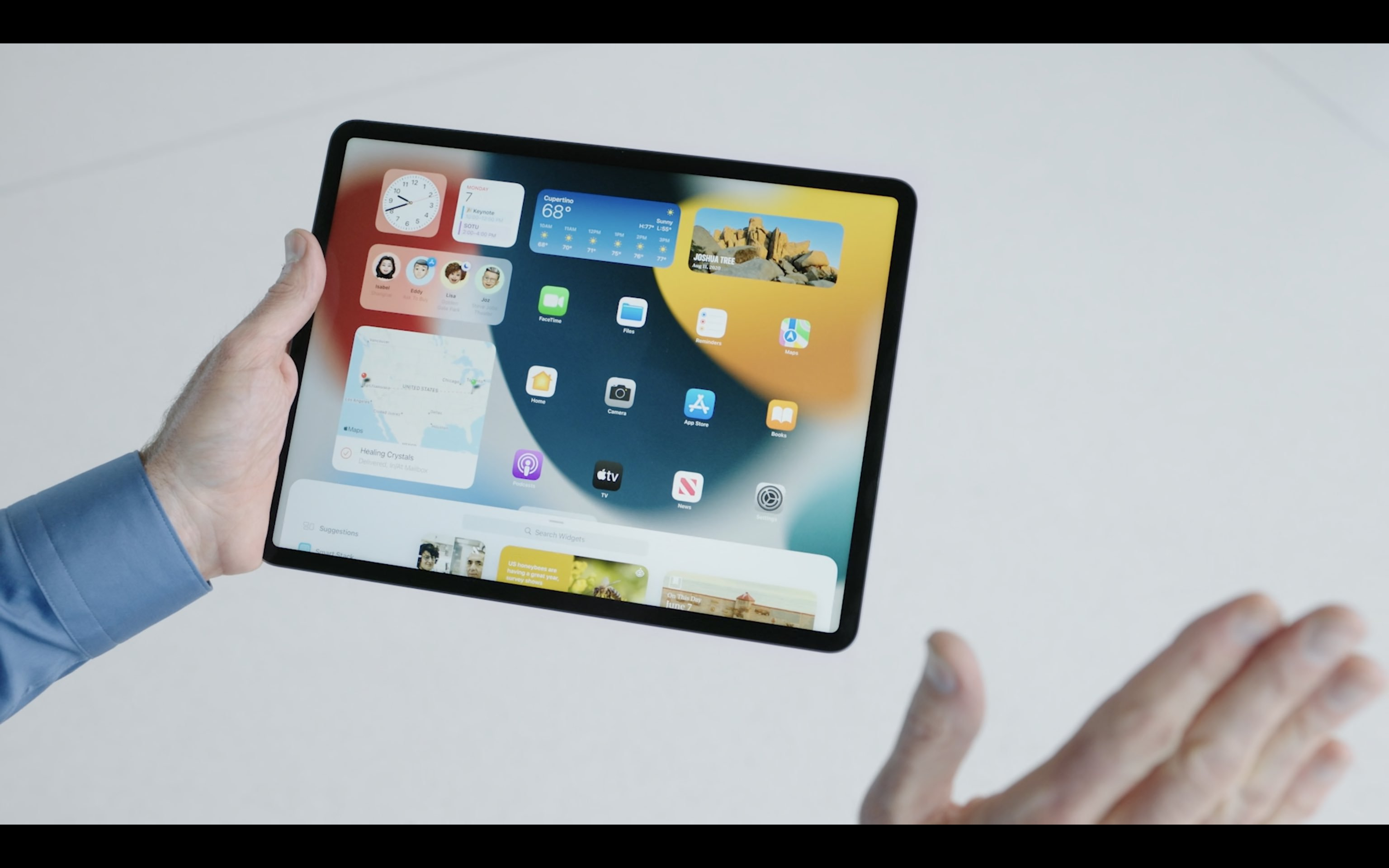 Visão dos Widgets na tela inicial do iPad