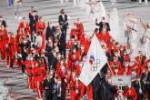 Atletas russos desfilam na abertura dos Jogos de Tóquio