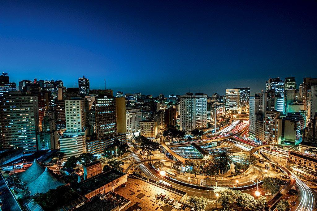 Vista aérea do Vale do Anhangabaú em São Paulo