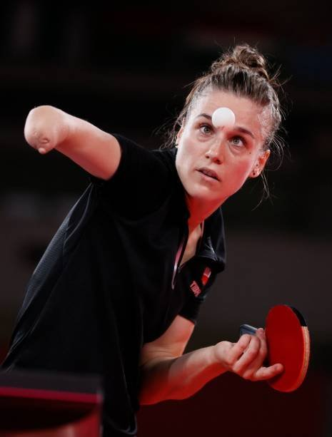 TOKYO, JAPAN - JULY 24: Natalia Bartica of Team Poland competes in the women's singles preliminary round match on day one of the Tokyo 2020 Olympics at the Tokyo Metropolitan Gymnasium on July 24, 2021 in Tokyo, Japan.  (Photo by Steve Chambers/Getty Images)