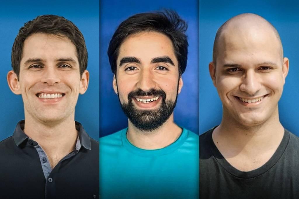 Thiago Feijão, Mateus Noronha e Gabriel Melo (a partir da esquerda), sócios-fundadores da Eduqo, startup que acaba de ser adquirida pela Arco Educação | Foto: Eduqo/Divulgação