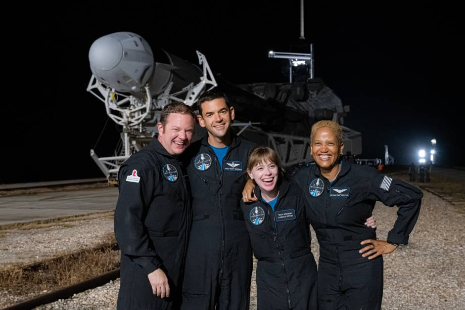 Inspiration4 Crews at Complex 39A., Kennedy Space Center Left to Right: Chris Sembroski, Jared Isaacman, Hayley Arceneaux, and Sian Proctor