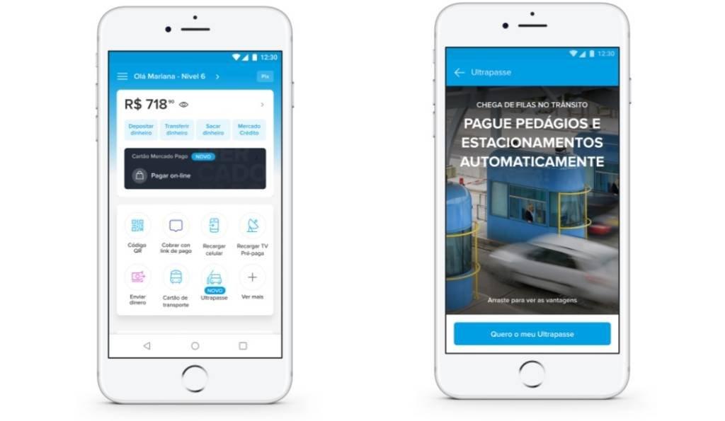 Telas do aplicativo do Mercado Pago na nova funcionalidade de tag de pedágio e estacionamento | Foto: Mercado Pago/Divulgação