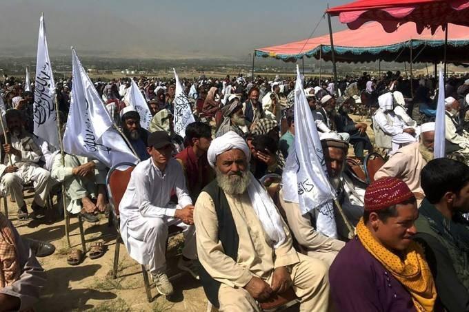 Encontro de simpatizantes do movimento Talibã em Cabul, em 3 de outubro de 2021